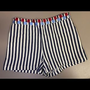 THML embroidered striped shorts